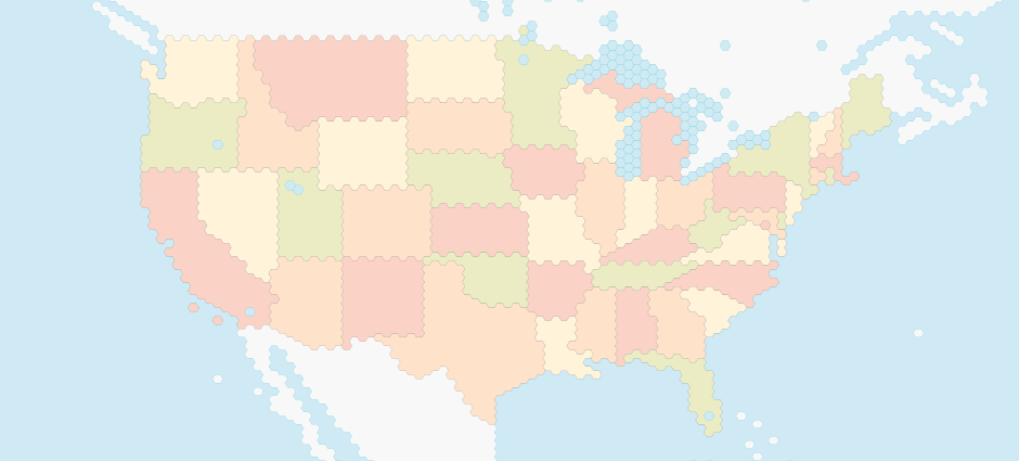 Map of  United States of America with States - Polygon