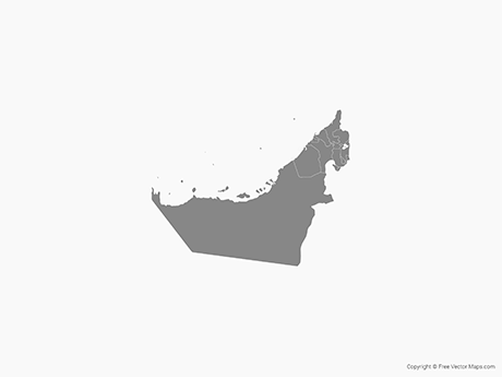 Free Vector Map of United Arab Emirates with Emirates - Single Color