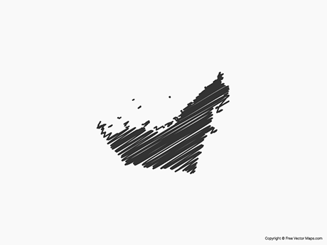 Free Vector Map of United Arab Emirates - Sketch