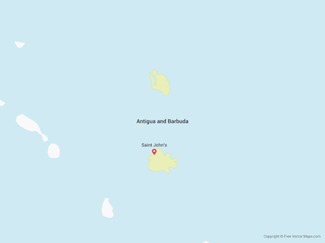 Free Vector Map of Antigua and Barbuda