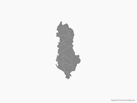 Free Vector Map of Albania with Administrative Divisions - Single Color