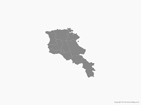 Free Vector Map of Armenia with Provinces - Single Color