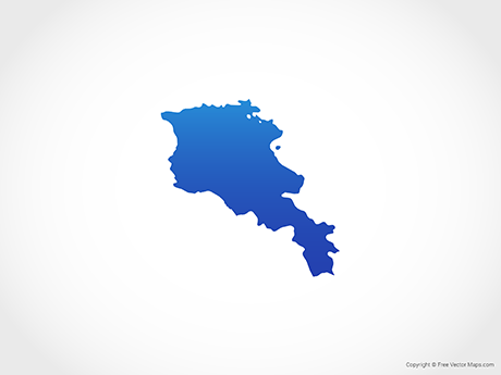 Free Vector Map of Armenia - Blue