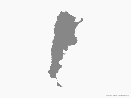 Free Vector Map of Argentina - Single Color