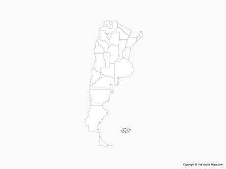 Free Vector Map of Argentina with Provinces - Outline