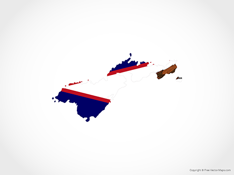 Free Vector Map of American Samoa - Flag