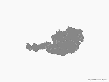 Free Vector Map of Austria with States - Single Color