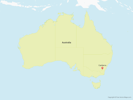 Free Vector Map of Australia with States