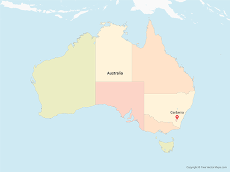 Free Vector Map of Australia with States - Multicolor