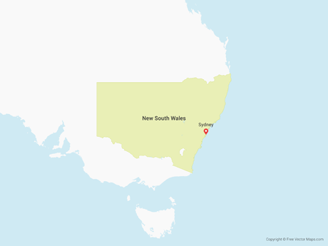 Free Vector Map of New South Wales