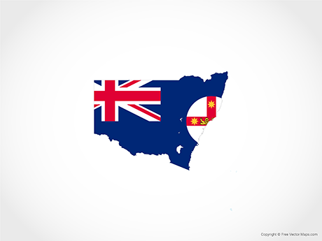 Free Vector Map of New South Wales - Flag