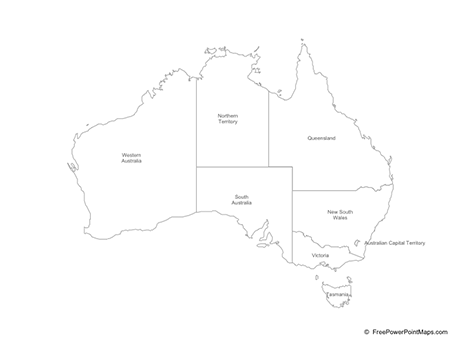 Map Of States Of Australia.Powerpoint Map Of Australia With States Outline Free Vector Maps
