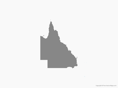 Free Vector Map of Queensland - Single Color