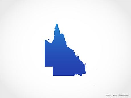 Free Vector Map of Queensland - Blue