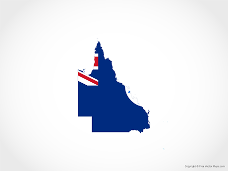 Free Vector Map of Queensland - Flag