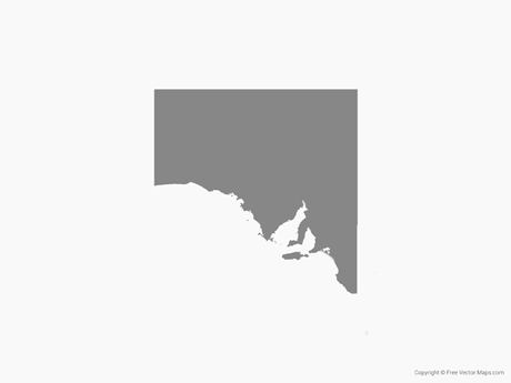 free vector map of south australia single color