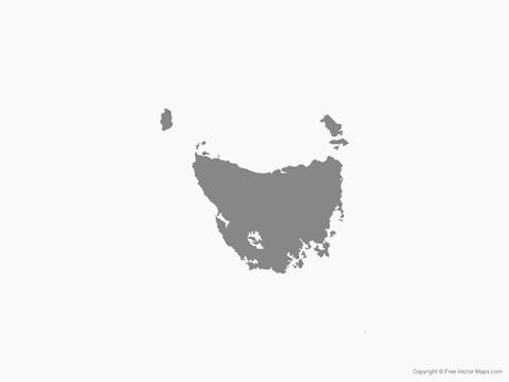 Map of Tasmania - Single Color