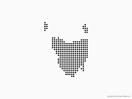 Free Vector Map of Tasmania - Dots