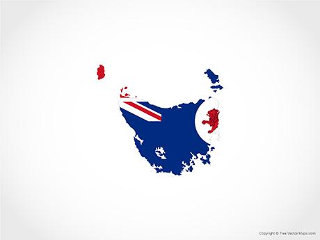 Free Vector Map of Tasmania - Flag