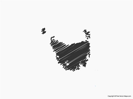 Free Vector Map of Tasmania - Sketch