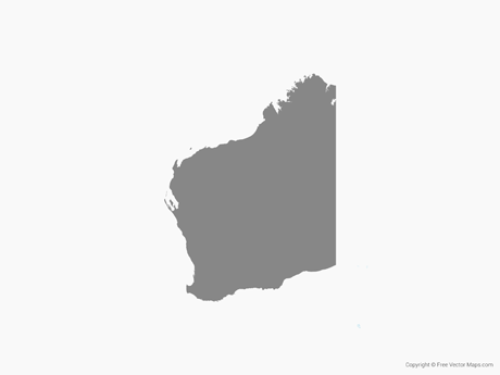 Free Vector Map of Western Australia - Single Color