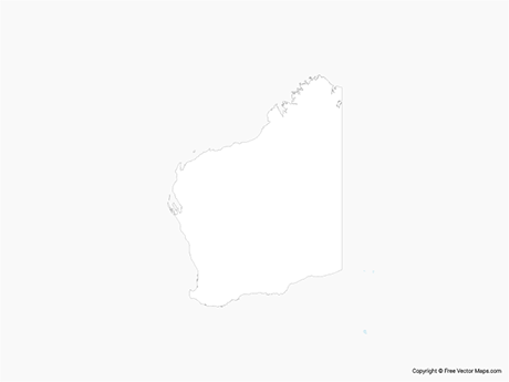 Free Vector Map of Western Australia - Outline