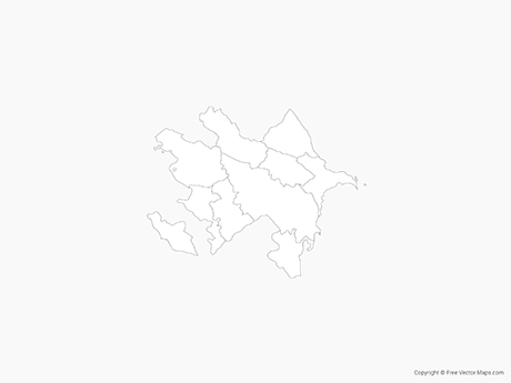 Free Vector Map of Azerbaijan with Economic Regions - Outline