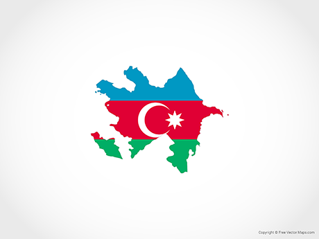 Free Vector Map of Azerbaijan - Flag