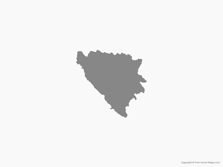 Free Vector Map of Bosnia and Herzegovina - Single Color