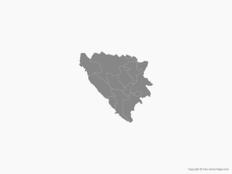Free Vector Map of Bosnia and Herzegovina with Cantons - Single Color
