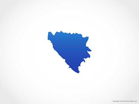 Free Vector Map of Bosnia and Herzegovina - Blue