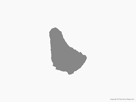 Free Vector Map of Barbados - Single Color