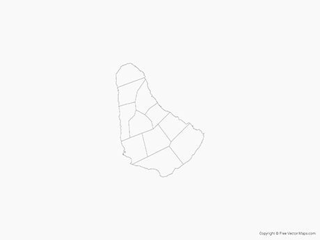 Free Vector Map of Barbados with Parishes - Outline