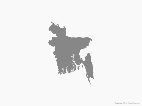 Free Vector Map of Bangladesh - Single Color