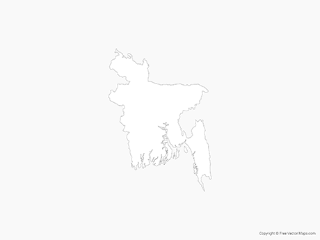 Free Vector Map of Bangladesh - Outline