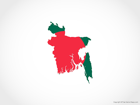 Free Vector Map of Bangladesh - Flag