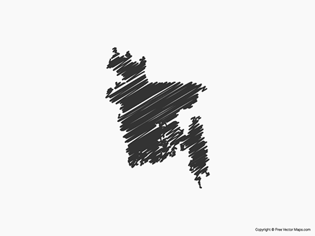 Free Vector Map of Bangladesh - Sketch