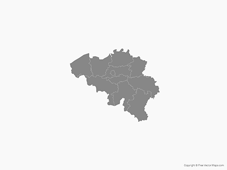 Free Vector Map of Belgium with Provinces - Single Color