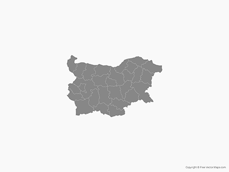 Free Vector Map of Bulgaria with Provinces - Single Color