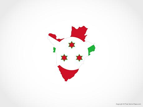 Map of Burundi - Flag
