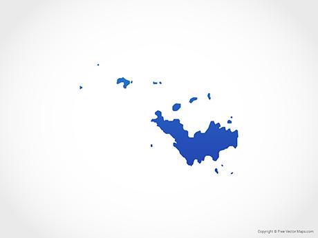 Free Vector Map of Saint Barthélemy - Blue