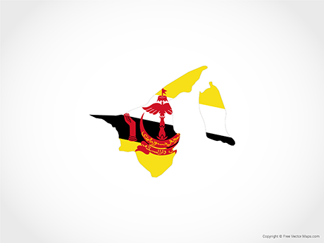 Free Vector Map of Brunei - Flag