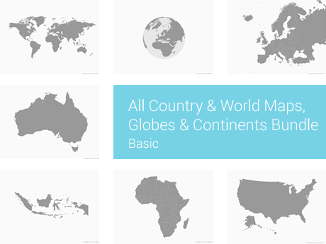 All Country & World Maps, Globes & Continents Bundle - Basic