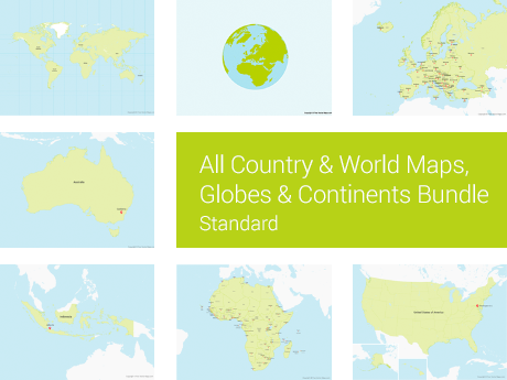 All Country & World Maps, Globes & Continents Bundle - Standard