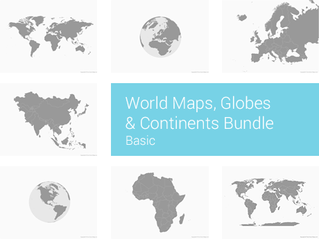 World Maps Globes Continents Bundle Basic Free Vector Maps - Basic world map