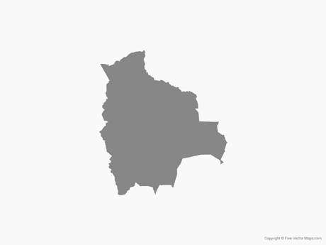 Free Vector Map of Bolivia - Single Color