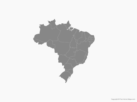 Vector Map Of Brazil With States Single Color Free Vector Maps - Brazil states map