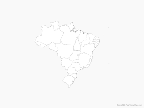 Free Vector Map of Brazil with States - Outline