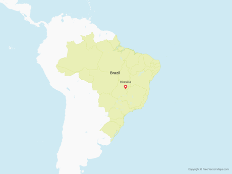 Free Vector Map of Brazil with States