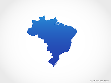 Free Vector Map of Brazil - Blue